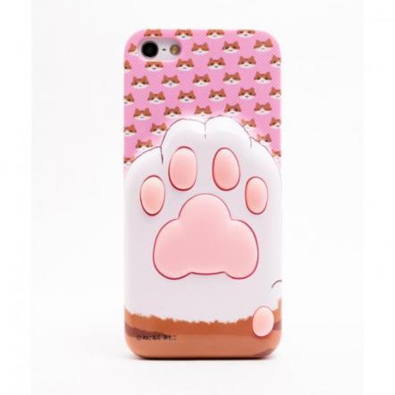 にゃんこ iPhone5用ケース 肉球C(顔ピンク)