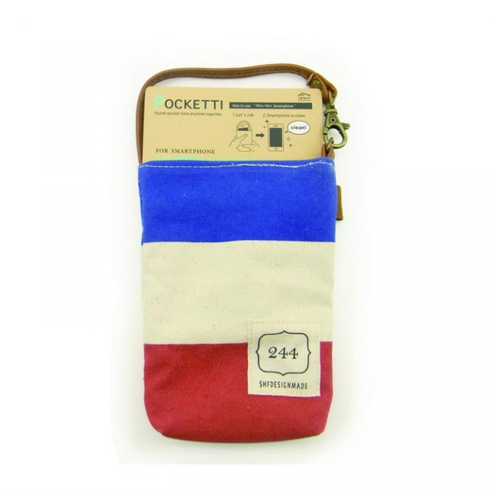 iPhone SE/5s/5 ケース Pocketti スマホトート縦/ハンプ トリコロール_0