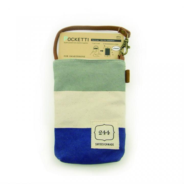 【iPhone SE/5s/5ケース】Pocketti スマホトート縦/ハンプ ネイビーグレー_0