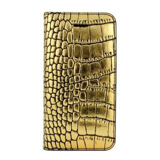 GAZE クロコダイル柄ゴールド iPhone SE/5s/5 手帳型ケース