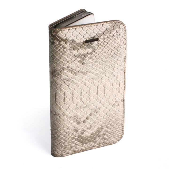 GAZE ヘビ柄アイボリー iPhone SE/5s/5 手帳型ケース
