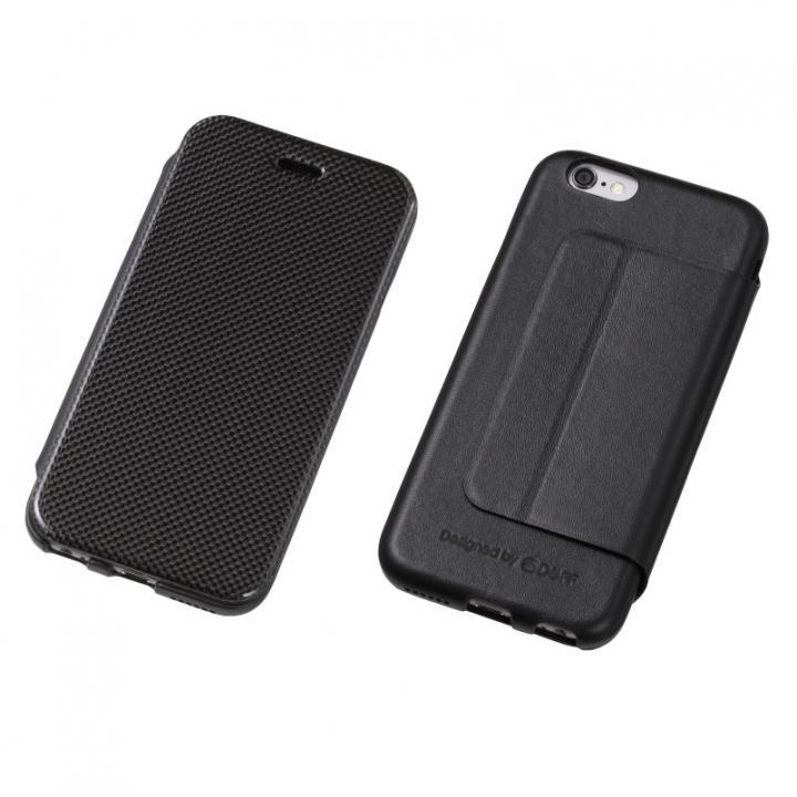 【iPhone6s Plusケース】Deff カーボンファイバー&天然レザー手帳型ケース ブラック iPhone 6s Plus/6 Plus_0