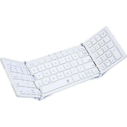 3E Bluetooth Keyboard  TENPLUS  3つ折りタイプ ホワイト×パールホワイト ケース付属_0