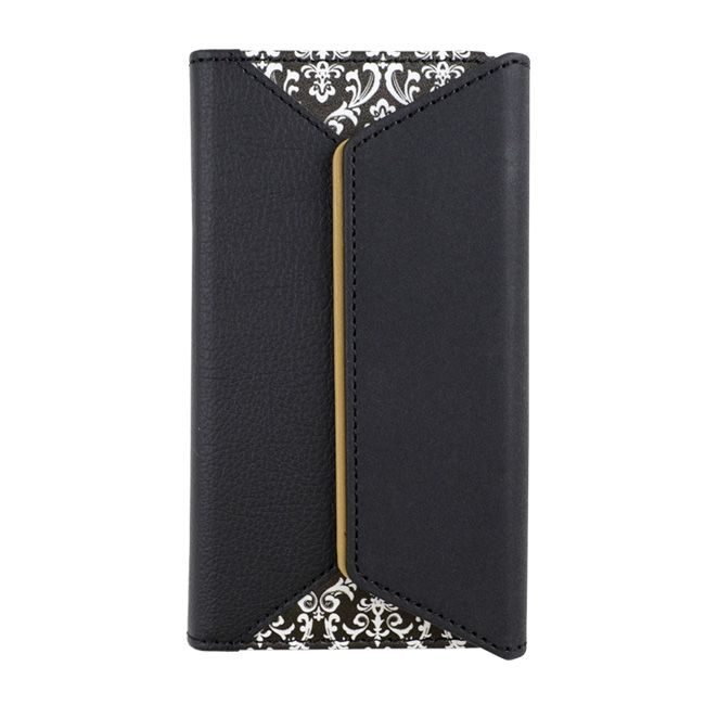 BLACK BY MOUSSY 三つ折り手帳型ケース ダマスク柄 ブラック iPhone 8/7