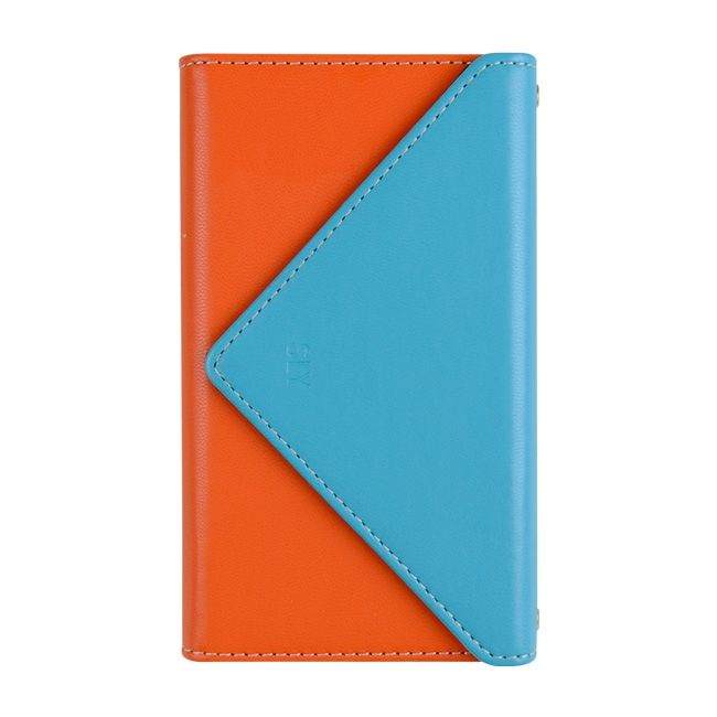 【iPhone8/7ケース】SLY 3つ折り手帳型ケース バイカラー ブルー/オレンジ iPhone 8/7_0