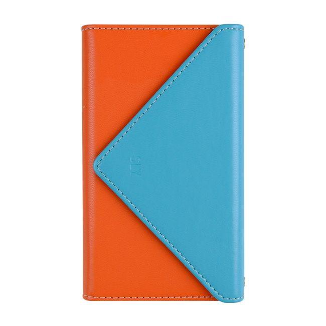 iPhone8/7 ケース SLY 3つ折り手帳型ケース バイカラー ブルー/オレンジ iPhone 8/7_0