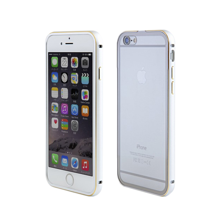 【iPhone6ケース】背面保護クリアプレート付 アルミバンパー シルバー iPhone 6_0