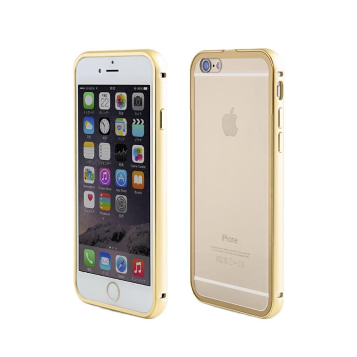 【iPhone6ケース】背面保護クリアプレート付 アルミバンパー ゴールド iPhone 6_0