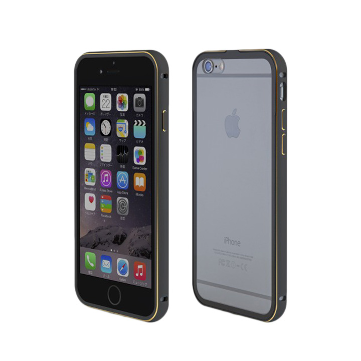 iPhone6 ケース 背面保護クリアプレート付 アルミバンパー ブラック iPhone 6_0