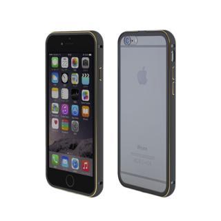 【iPhone6ケース】背面保護クリアプレート付 アルミバンパー ブラック iPhone 6