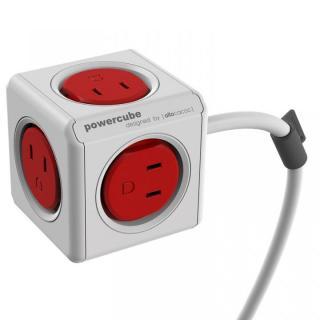 キューブ型マルチ電源タップ パワーキューブ 5個口+コード1.5m 赤