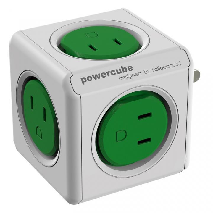 キューブ型マルチ電源タップ パワーキューブ 5個口 緑