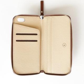 【iPhone6ケース】お財布付き手帳型ケース ZIP-Around ブラウン iPhone 6s/6_1