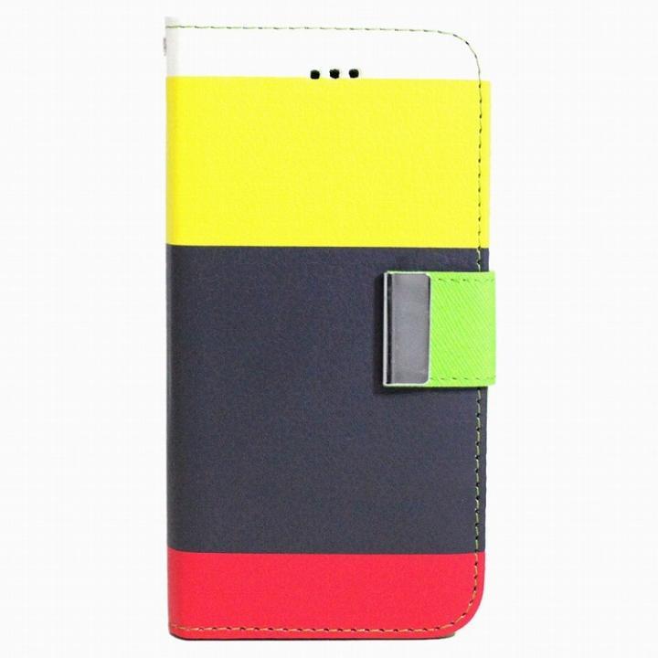 4カラー手帳型PUレザーケース イエロー×ネイビー iPhone 6