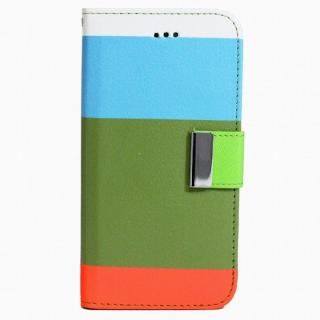 4カラー手帳型PUレザーケース ブルー×オリーブ iPhone 6