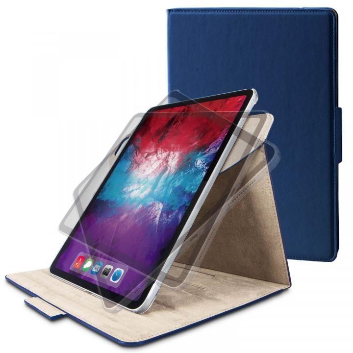 フラップケース ソフトレザー 360度回転 Mサイズ ネイビー iPad Pro 2020 11インチ_0