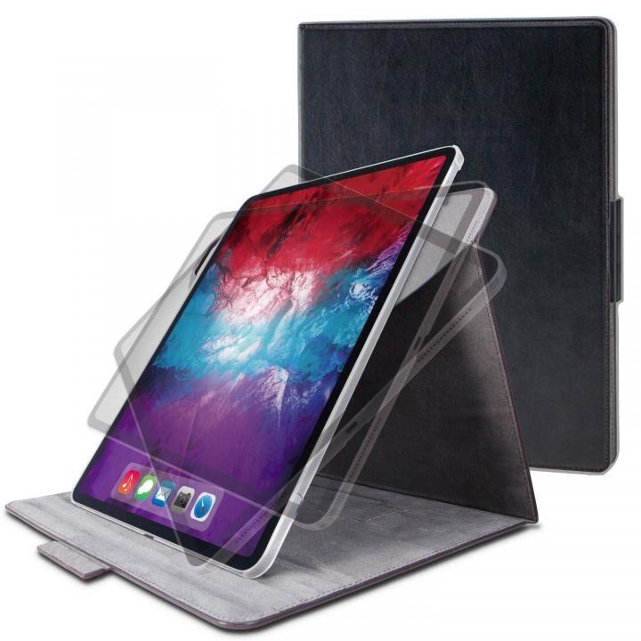 フラップケース ソフトレザー 360度回転 Lサイズ ブラック iPad Pro 2020 11インチ_0