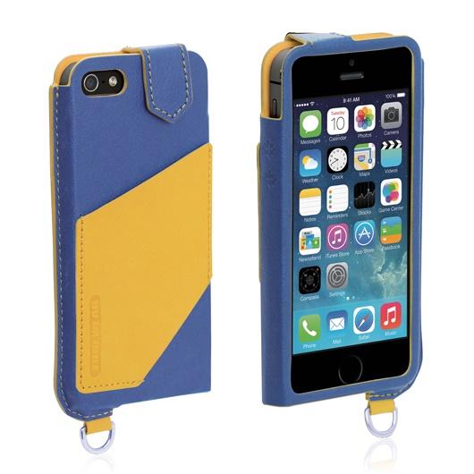 【iPhone SE/5s/5ケース】磁気干渉防止シート内蔵 ブルー/イエロー iPhone SE/5s/5/5c 手帳型ケース_0