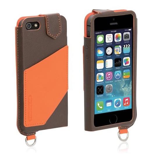 iPhone SE/5s/5 ケース 磁気干渉防止シート内蔵 ブラウン/オレンジ iPhone SE/5s/5/5c 手帳型ケース_0