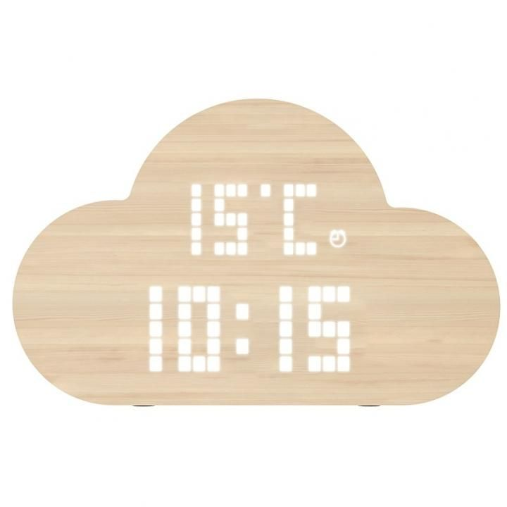 PLUS DOT Simplewood 卓上時計 雲型