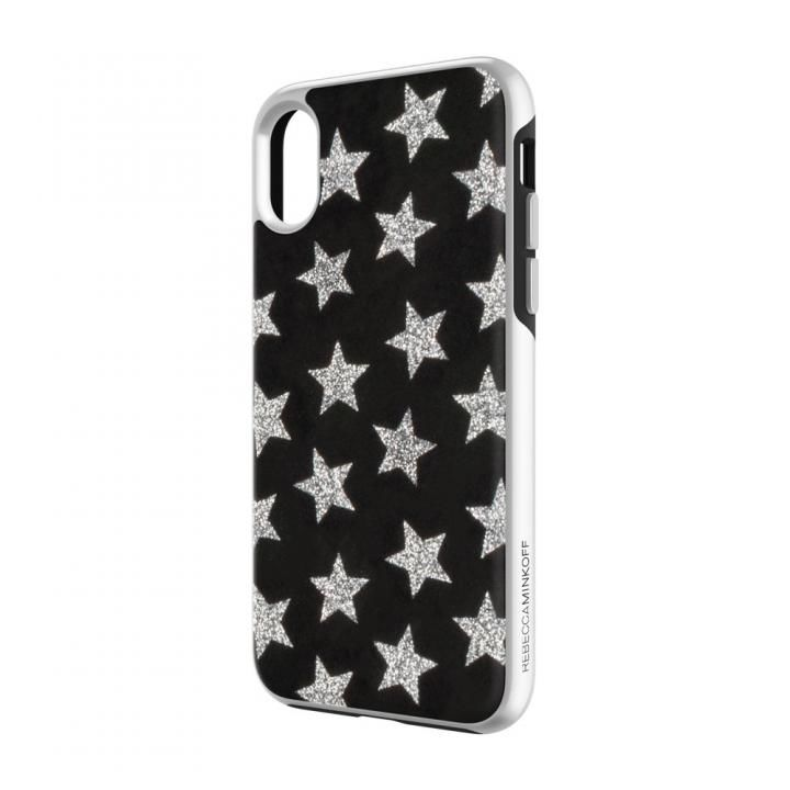 Rebecca Minkoff Luxe Double Up Case Leather Stars Black/Silver Glitter iPhone X