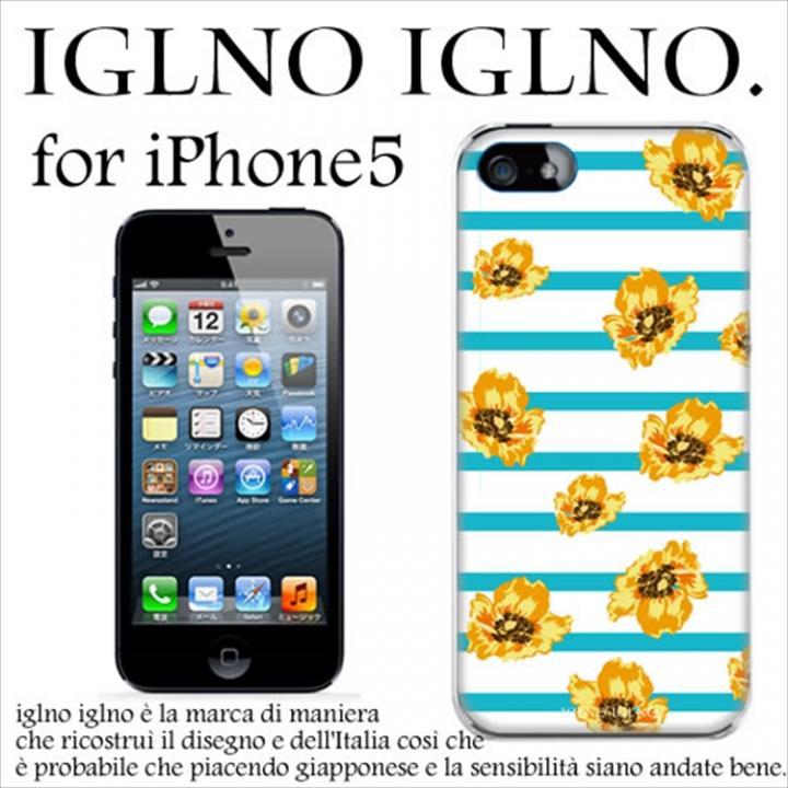 iglno iglno フラワーボーダー ライトブルー iPhone 5ケース