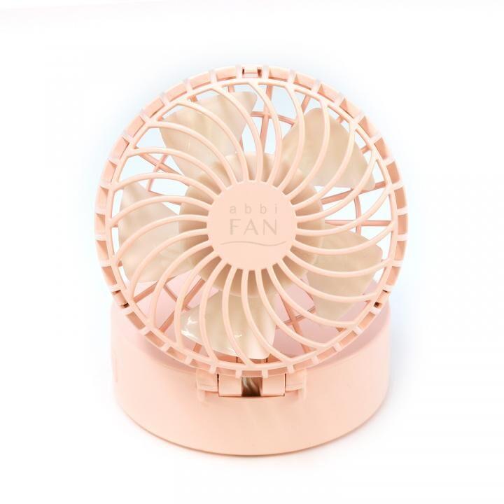 abbi Fan ハンズフリーポータブル扇風機ミラー付き ピンク_0