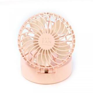 abbi Fan ハンズフリーポータブル扇風機ミラー付き ピンク
