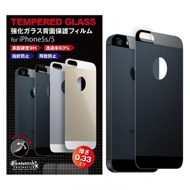 iPhone SE/5s/5 フィルム [0.33mm]Fantastick Tempered 背面強化ガラス ブラック iPhone SE/5s/5_0