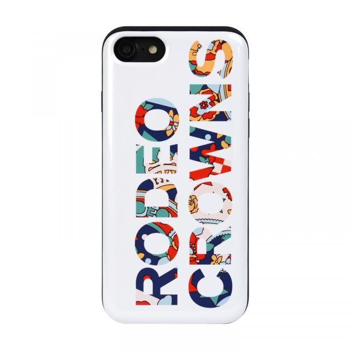 iPhone8/7 ケース RODEOCROWNS ロゴフラワー カード収納型背面ケース WHITE iPhone 8/7_0