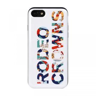 iPhone8/7 ケース RODEOCROWNS ロゴフラワー カード収納型背面ケース WHITE iPhone 8/7