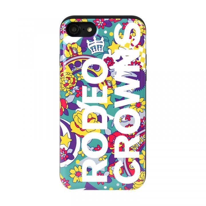 iPhone8/7 ケース RODEOCROWNS ロゴフラワー カード収納型背面ケース EMERALD iPhone 8/7_0