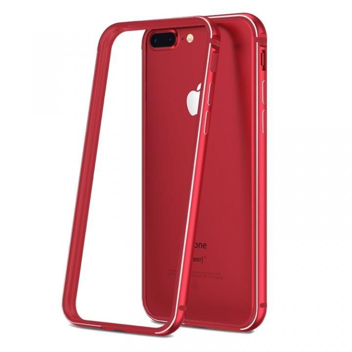 薄型アルミニウム&TPUハイブリッドバンパー 工具不要 Aluminio レッド iPhone 7 Plus