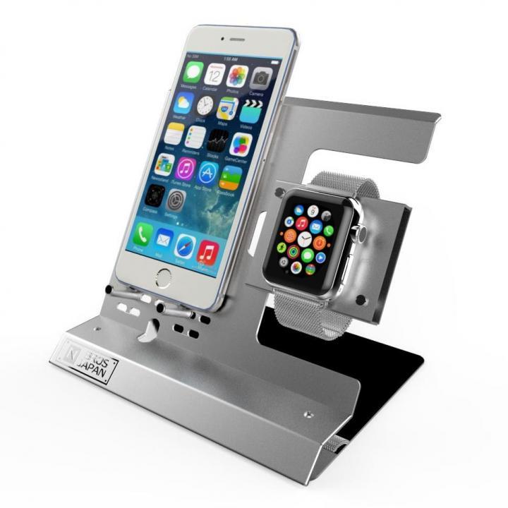 Apple Watch & iPhoneスタンド ステンレス&アルミ素材 シルバー_0