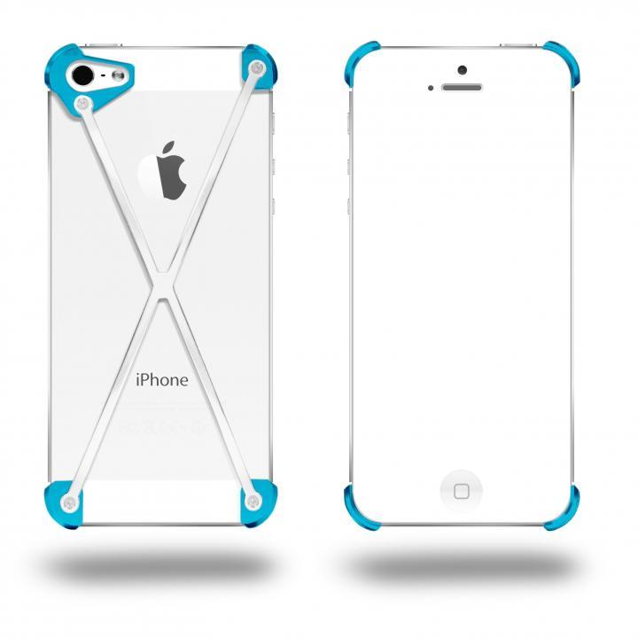 iPhone SE/5s/5 ケース 端末の美しさを活かす RADIUS Cyan&Polished X ホワイト・シアン iPhone 5s/5ケース_0