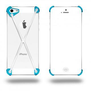 端末の美しさを活かす RADIUS Cyan&Polished X ホワイト・シアン iPhone 5s/5ケース
