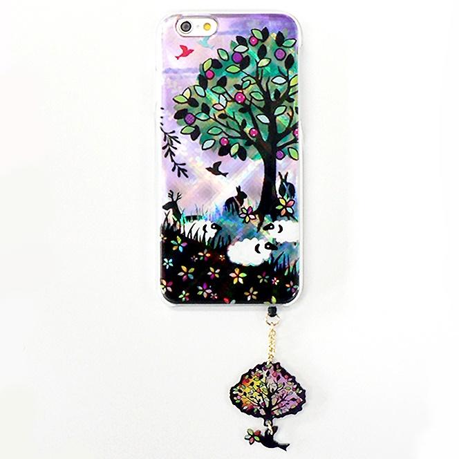 iPhone6 ケース ハードケース&イヤホンジャックセット shinyプラスシルエットシリーズ ひつじ iPhone 6_0
