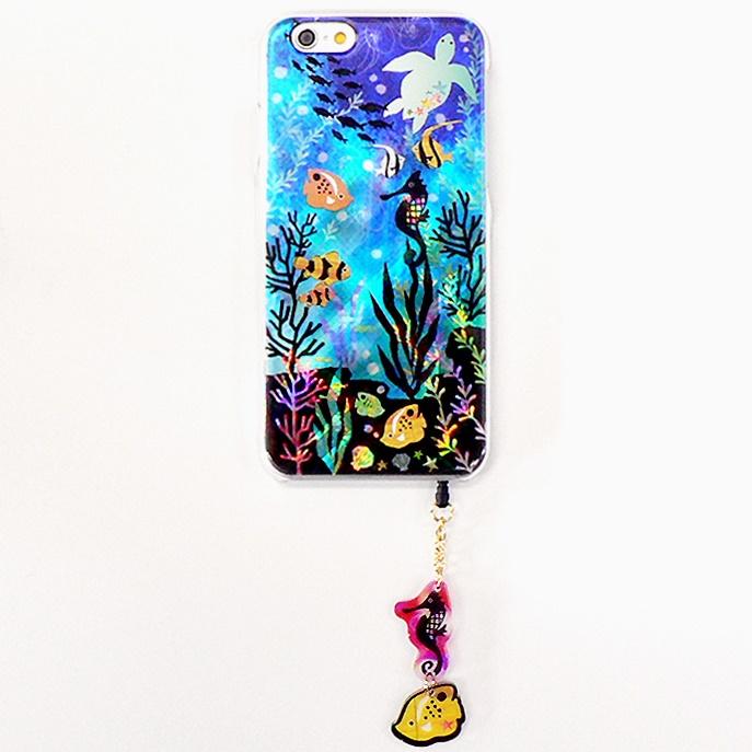 【iPhone6ケース】ハードケース&イヤホンジャックセット shinyプラスシルエットシリーズ かめ iPhone 6_0