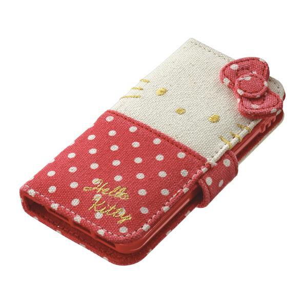 【iPhone SE/5s/5ケース】ハローキティ ファブリック 手帳型ケース ドットレット iPhone SE/5s/5/5cケース_0