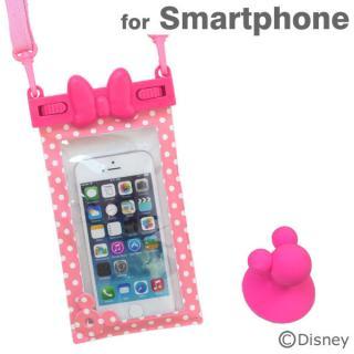 ディズニー スマートフォン用防水ソフトケース ミニーリボン/ピンクドット iPhone Android