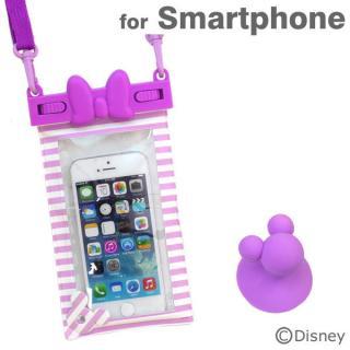 ディズニー スマートフォン用防水ソフトケース デイジーリボン/パープルストライプ iPhone Android