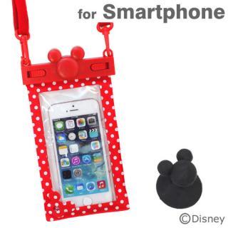 ディズニー スマートフォン用防水ソフトケース レッド/ドット iPhone Android