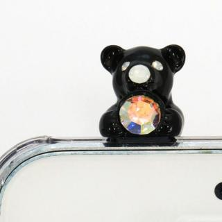 誕生石を持った クマケース バースディベアー ブラック7月 iPhone SE/5s/5ケース