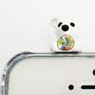 誕生石を持った クマケース バースディベアー ホワイト4月 iPhone SE/5s/5ケース