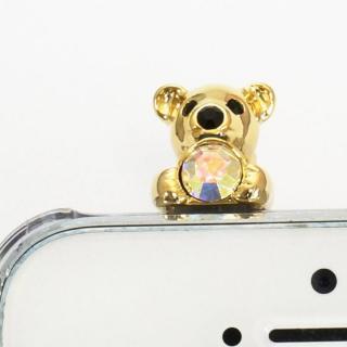 誕生石を持った クマケース バースディベアー ゴールド8月 iPhone SE/5s/5ケース