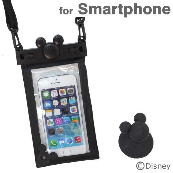 ディズニー スマートフォン用防水ソフトケース ブラック iPhone Android