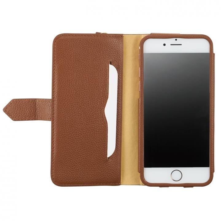 [4周年特価]BZGLAM レザー手帳型コインケース ブラウン iPhone 7