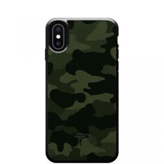 iPhone X ケース 本革カモフラケース Camo グリーン iPhone X
