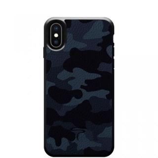 【iPhone X ケース】本革カモフラケース Camo ネイビー iPhone X