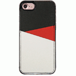背面カードポケットケース @hand スラッシュ レッド iPhone 7 Plus